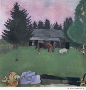 The Poet Reclining by Marc Chagall