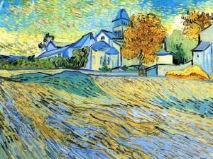 View of the church of Saint Paul de Mausole  by Vincent van Gogh